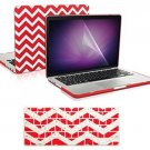 TopCase 3 In 1 Bundle - Chevron Series Ultra Slim Light Weight Rubberized Red -