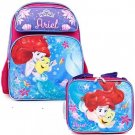 Disney Little Mermaid Ariel 16 Embossed Backpack and Matching Insulated Lunch
