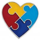 12 Autism Awareness Heart Pins 1 Puzzle Piece Lot Of 12