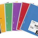 Mead Spiral Notebook, 1 Subject, 70 College Ruled Sheets, Assorted Colors, 6