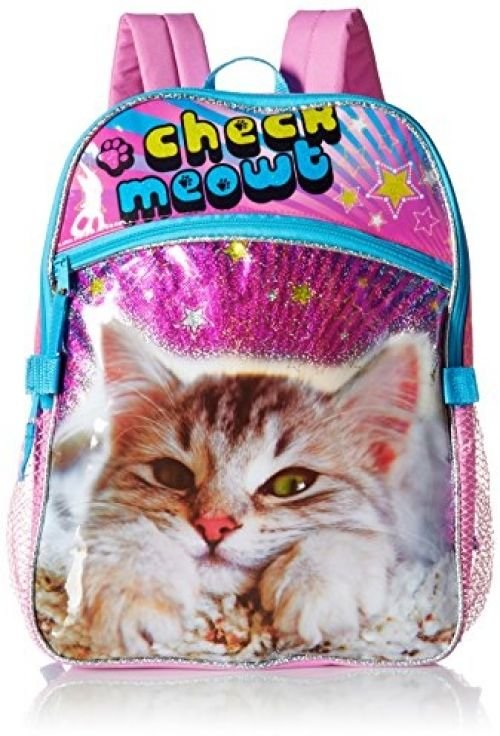 Global Design Concepts Girl's Cat Check Meowt Backpack With Lunch Kit, Pink,
