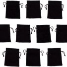 10 Medium 3 X 4 Black Velour Pouches With Drawstrings By Wiz Dice (Plain)