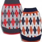 Blueberry Pet Pack Of 1 10-Inch Back Length Chic Argyle All Over Dog Sweater In