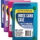C-LINE Polypropylene Index Card Case For 100 3 X 5 Inch Cards, Assorted