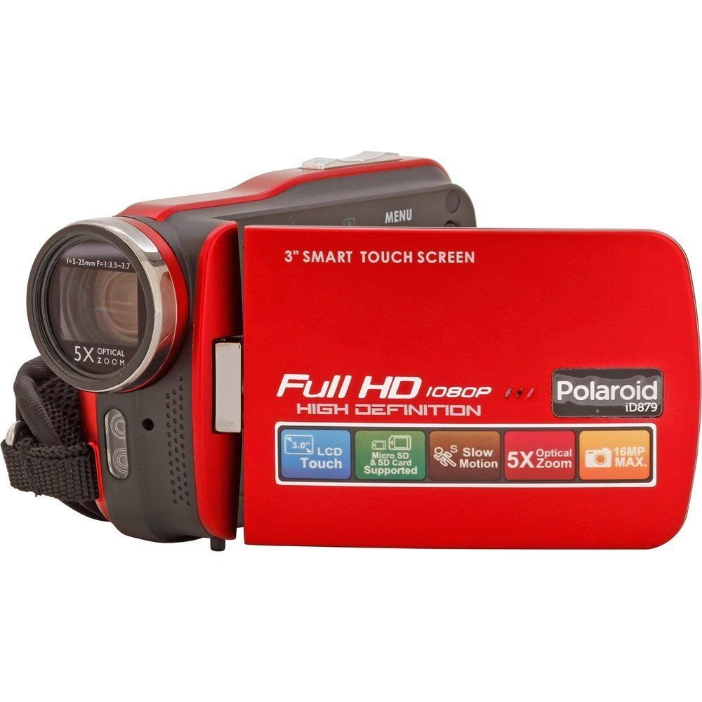 Polaroid ID879-RED Full 1080HD Camcorder with 3-Inch Screen (Red)