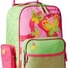 Stephen Joseph Little Girls' Rolling Butterfly Luggage,Hot Pink/Lime Green,One