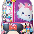 Disney Big Girls Tsum Front Zipper Pocket 16 Inch Backpack, Purple, One Size