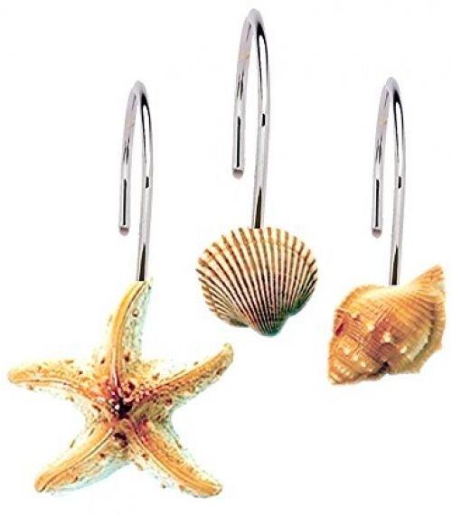 Seashell Shower Curtain Hooks Bathroom Beach Shell Decor (Set Of 12)
