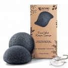 Facial Wash Konjac Sponge with Added Activated Bamboo Charcoal 2 Pack