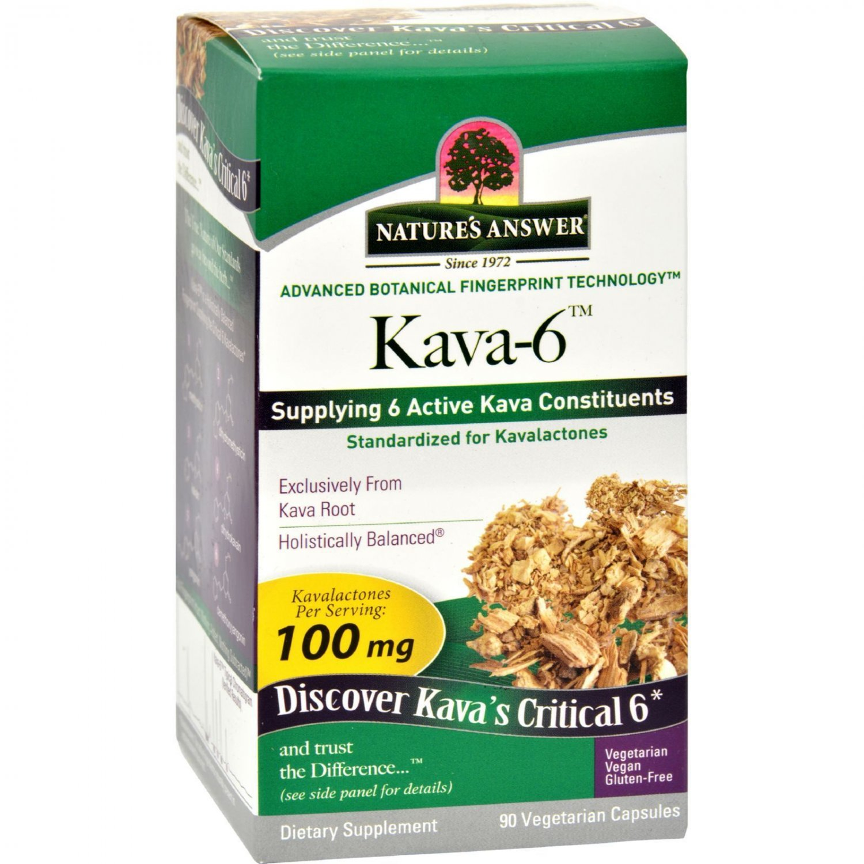 Nature's Answer Kava 6 Capsules - Gluten Free - 90 Vegetarian Capsules