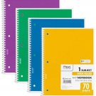 Mead Spiral Notebook 1-Subject, 70-Count, Wide Ruled, COLOR WILL VARY, 4 Pack