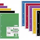 Mead Spiral Notebook, 1 Subject, 70 Wide Ruled Sheets, Assorted Colors, 12 Pack