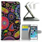 Fancy Aquatic Flower Pattern Slim Flip Wallet Stand Pouch PU Leather Case With