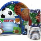 Sports Themed Party Pack For 10- Invitations, Plates, Napkins, Cups - Baseball,