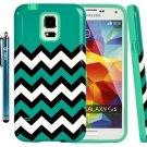 Galaxy S5 Case, S5 Cover, Style4U Galaxy S5 [Turquoise] Chevron Print Design 1
