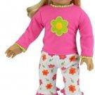 18 Inch Doll Pajamas By Sophia's, Flower Print Pajamas Capris, 2 Piece Set Not