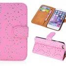 IPhone 5c Case, Pink Luxury Flip Wallet Rhinestones Diamond Coated Glitter Case