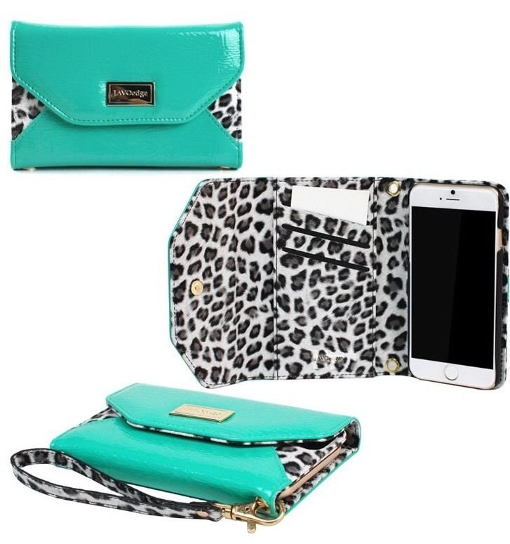 Leopard Clutch Wallet Case with Wristlet for the Sony Xperia Z2 (Turquoise)