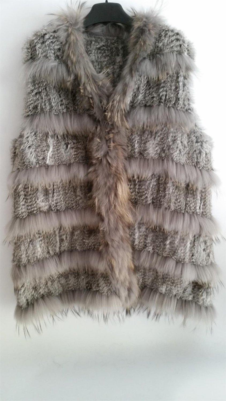 Chinchilla Grey Long Rabbit Fur Vest Casual Gilet