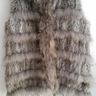 Chinchilla Grey Long Rabbit Fur Vest Casual Gilet
