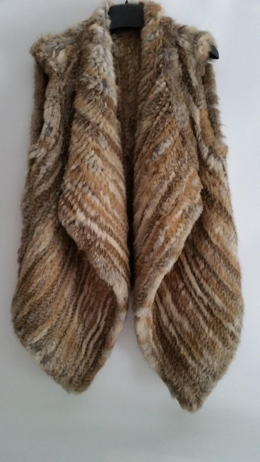 Nature Brown Long Rabbit Fur Vest Casual Pattern