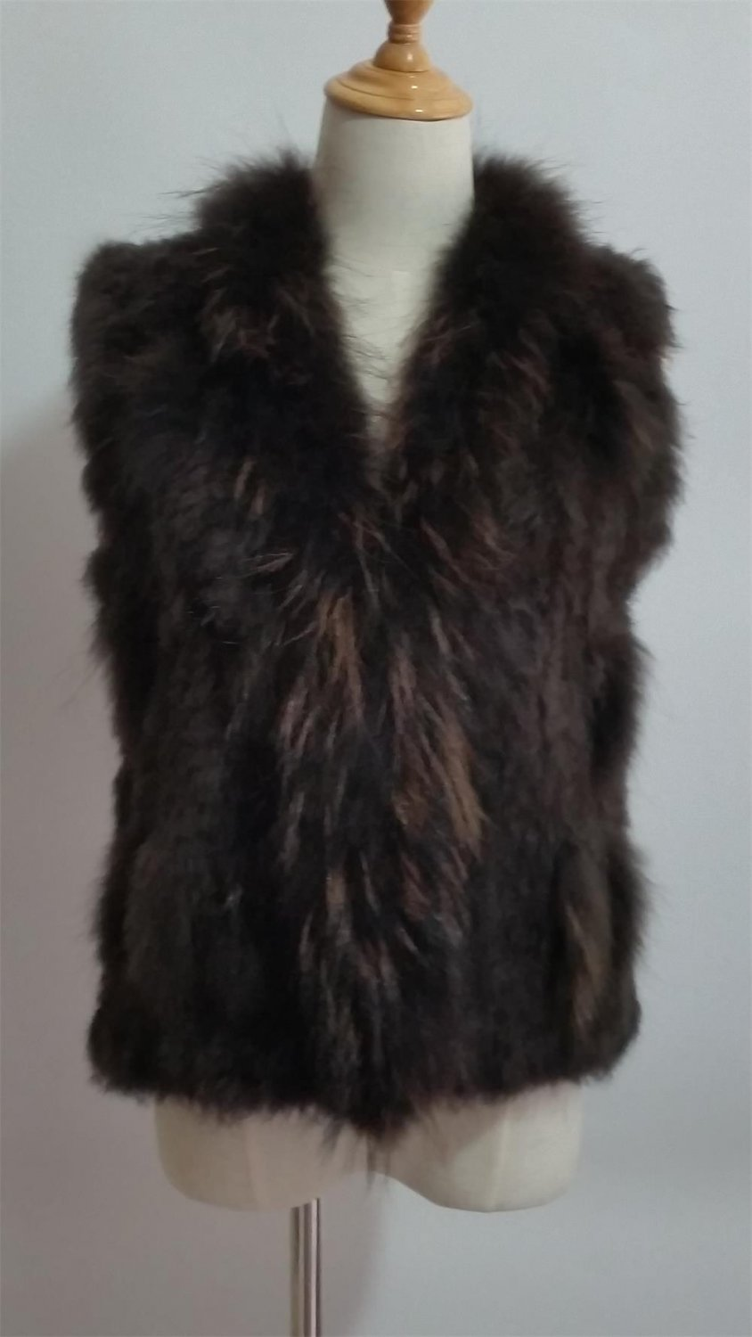 Dark Brown Short Rabbit fur Vest Raccoon trim