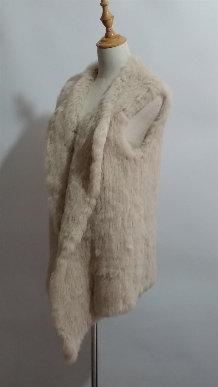 Cream Long Rabbit Fur Vest Casual On Sale