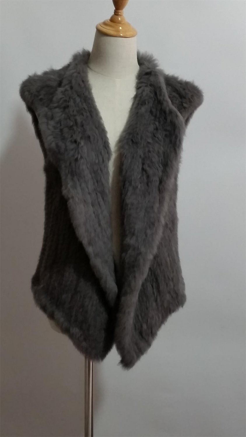 Dark Grey Knitted Rabbit Fur Vest Top Outwear