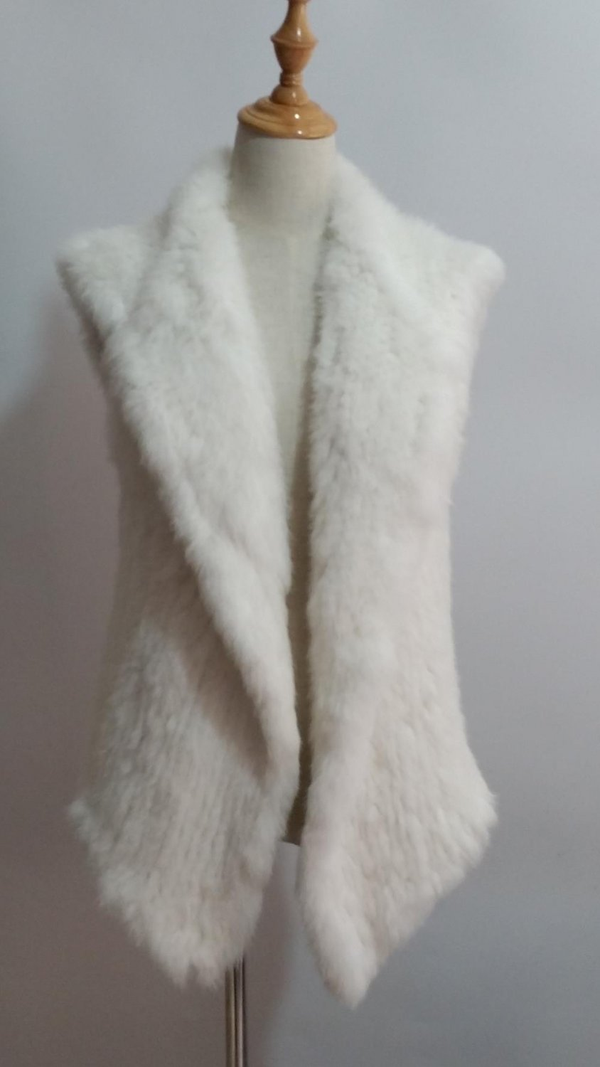 White Knitted Rabbit Fur Vest Top Outwear