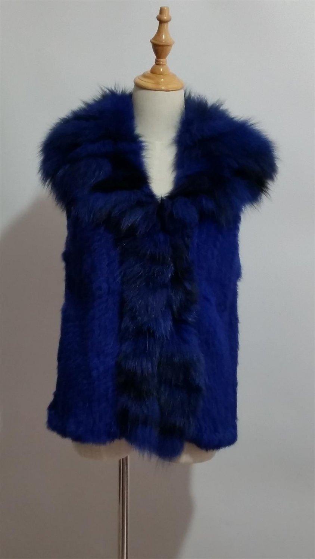 Sapphire Blue Rabbit Fur Vest Fox fur Collar M