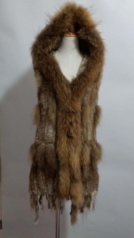Nature brown Long Rabbit Fur Vest Hoodie tassels