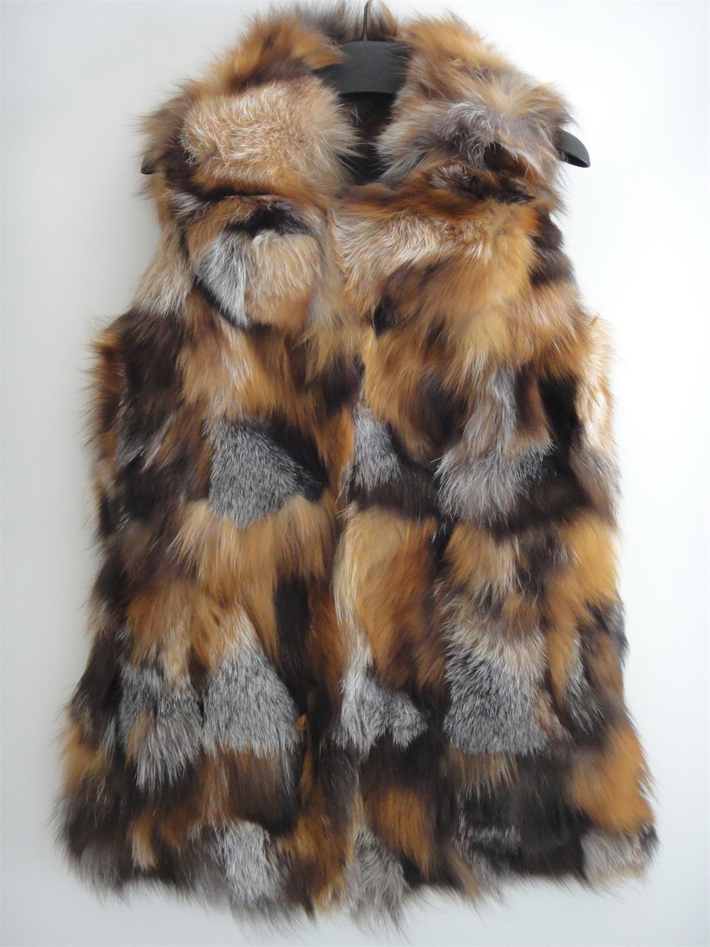Long Red fox fur vest patchwork 75cm long