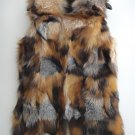 Long Red fox fur vest patchwork 75cm long