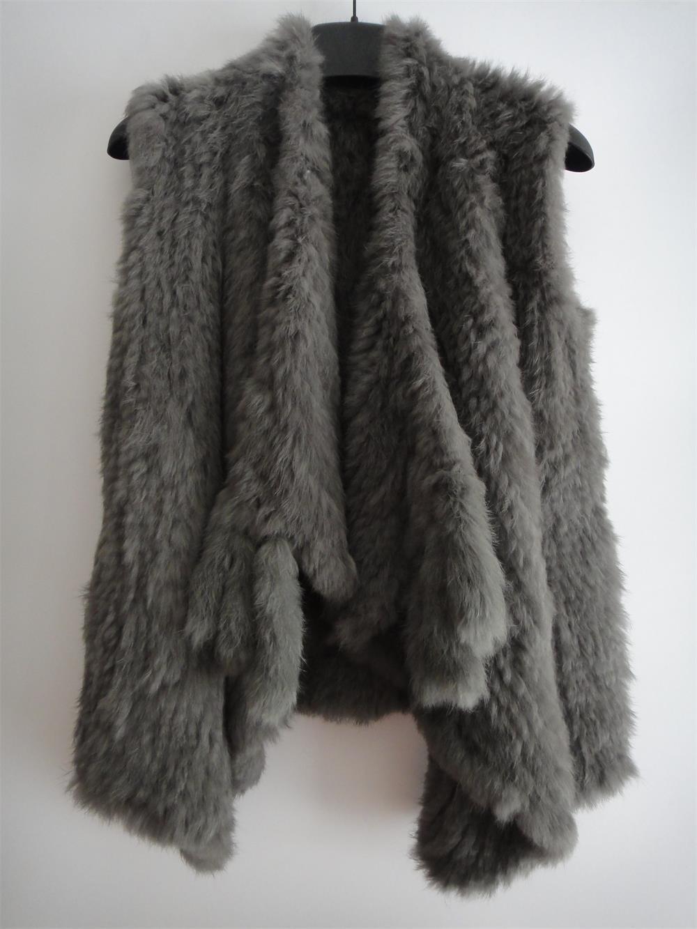 Dark Grey Knit Rabbit Fur Sweater Vest Fur Gilet