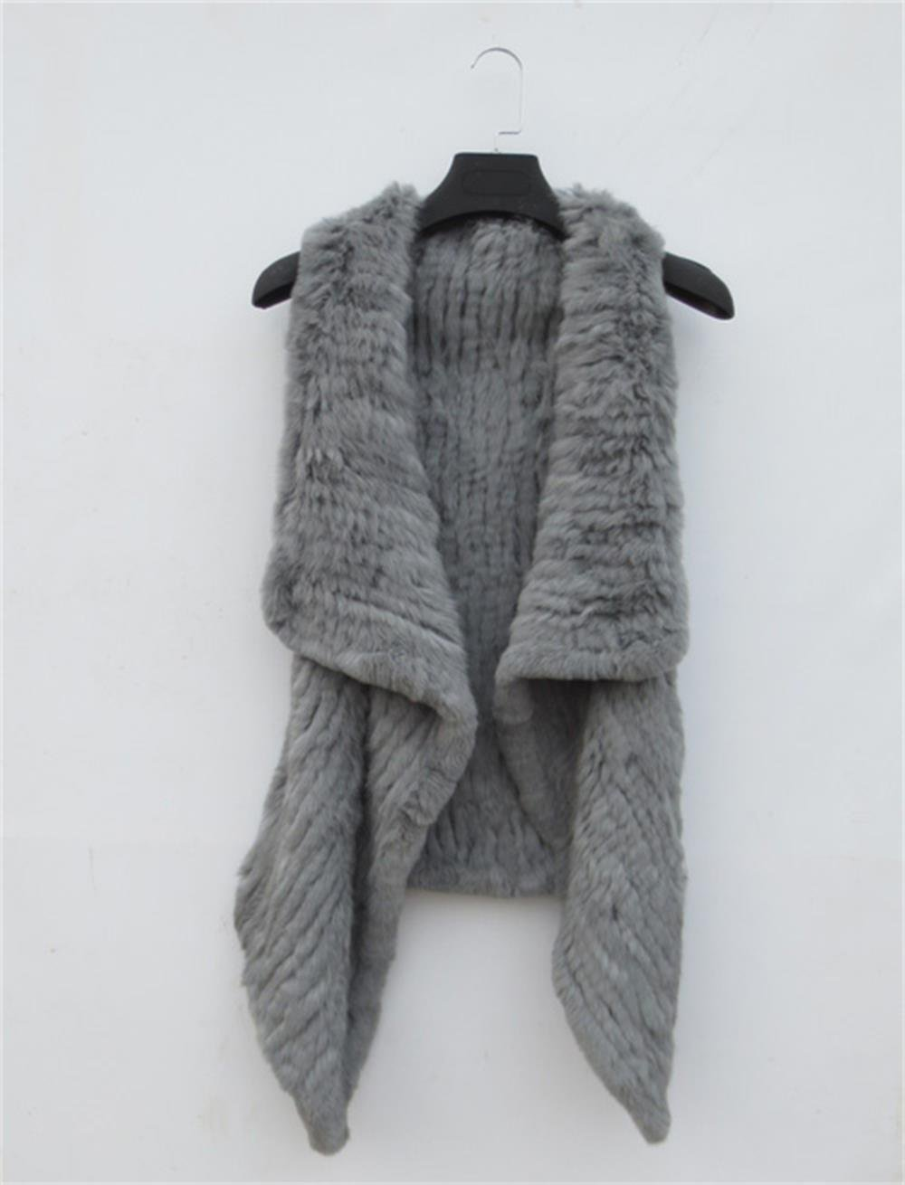 Dark Grey Rabbit Fur Vest Knit Cardigan Casual