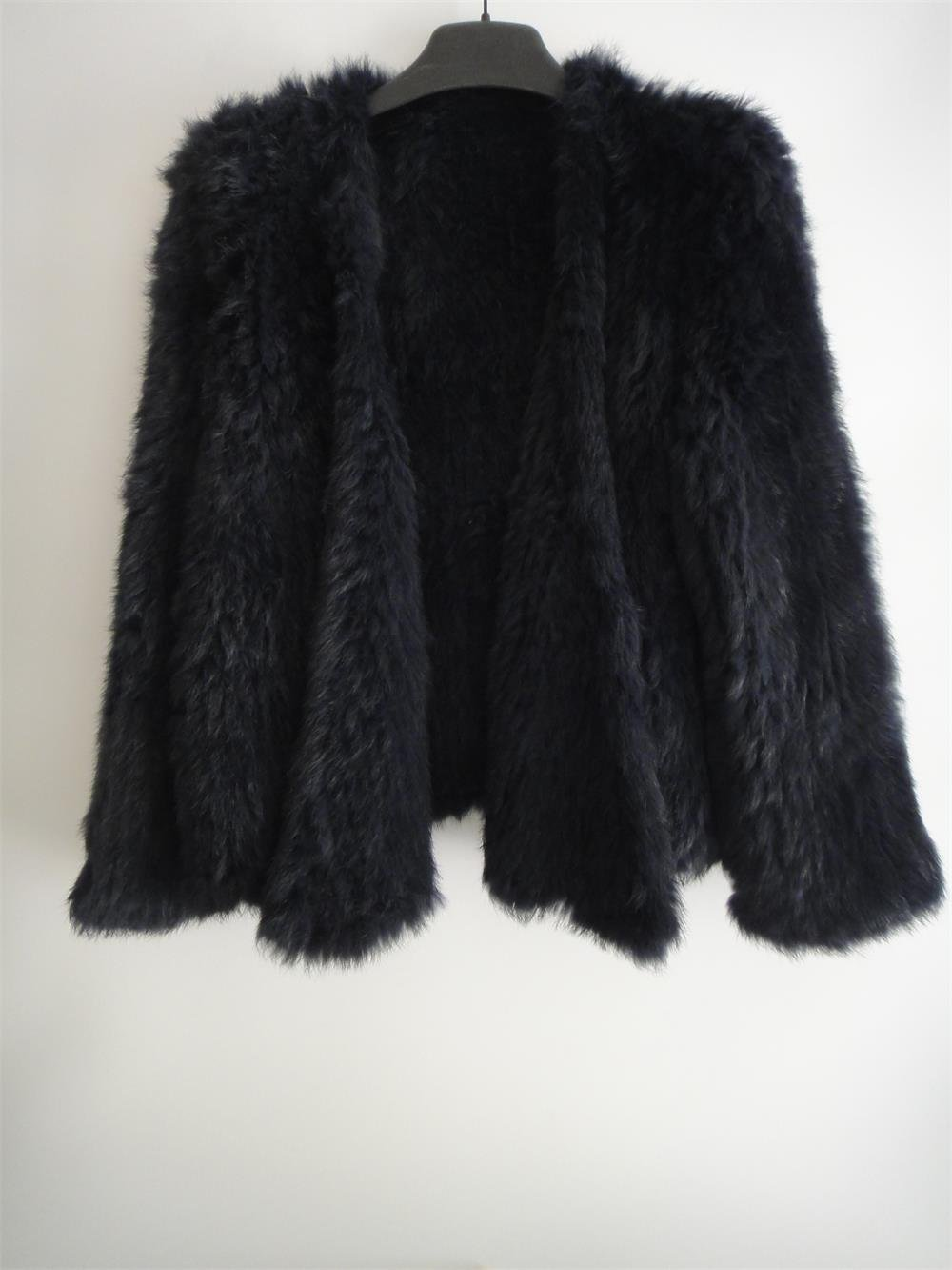 Black/White Crochet Real Rabbit Fur Outwear
