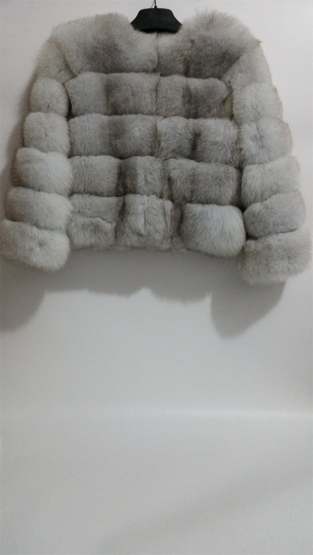 Nature white/Off white Blue Fox Fur Jacket