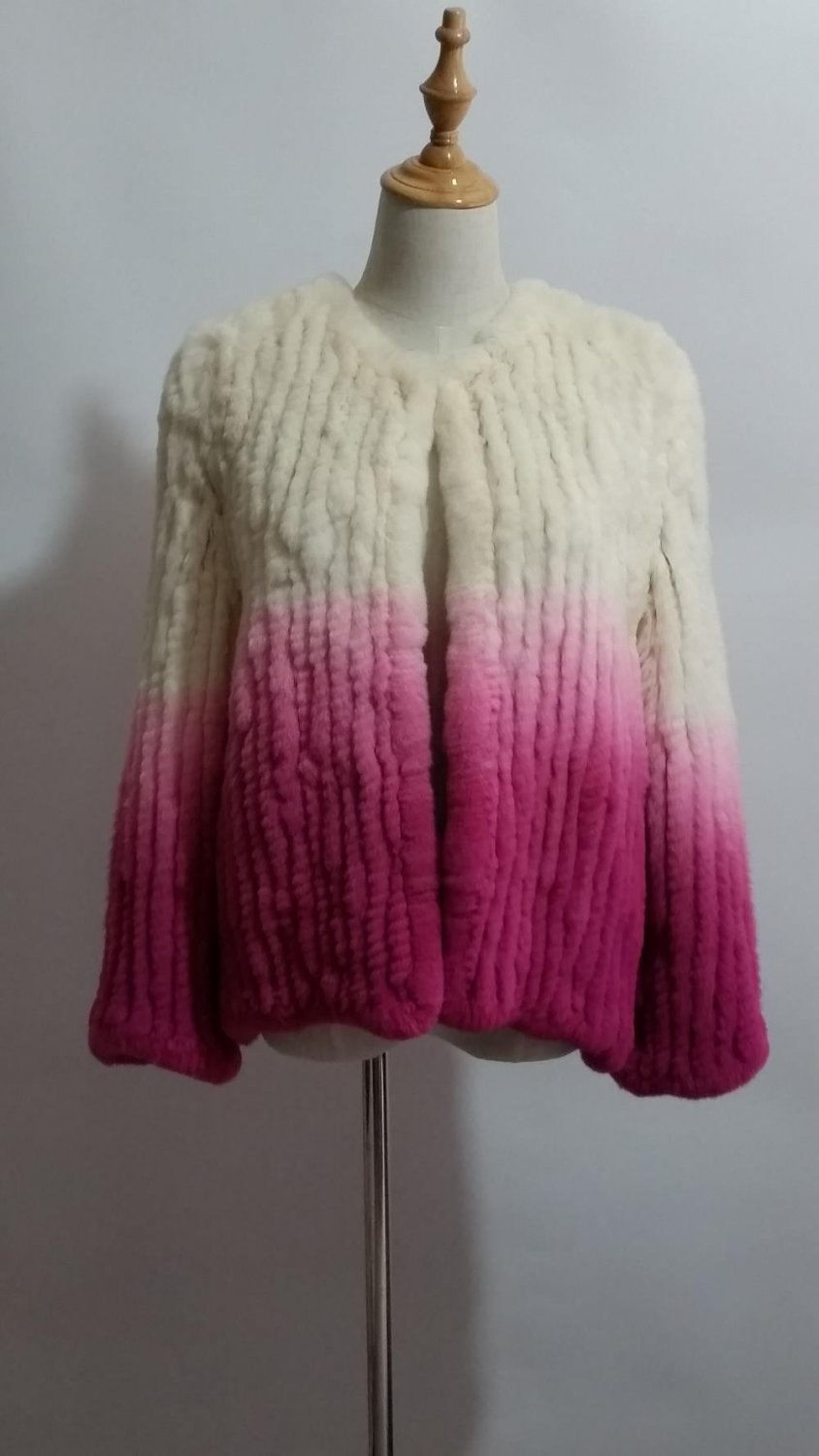 White/Pink gradient Crochet Rabbit Fur Jacket