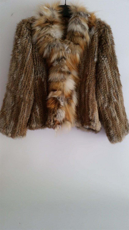 Golden Crochet Rabbit Fur Jacket with red fox fur
