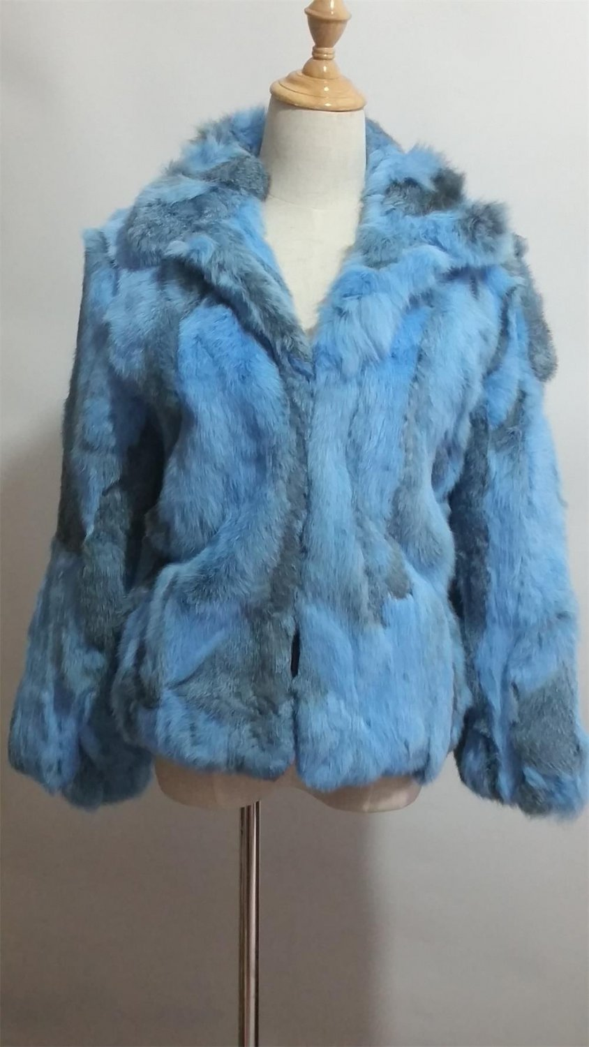 Blue Patchwork rabbit fur jacket stand up collar