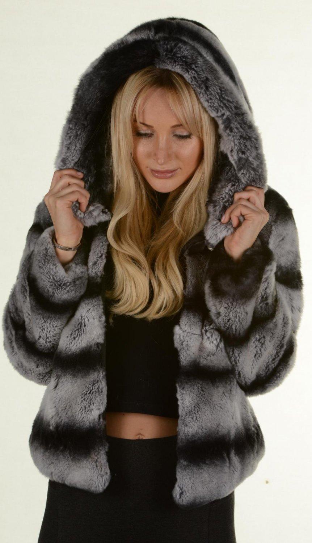 Chinchilla Grey Rex rabbit Fur Jacket Hooded