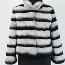 Chinchilla Grey Rex rabbit Fur Jacket stripes dyed