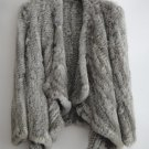 Grey Asymmetrical Real Rabbit Fur Jacket