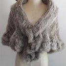 Grey Knitted rabbit fur shawl cape wrap
