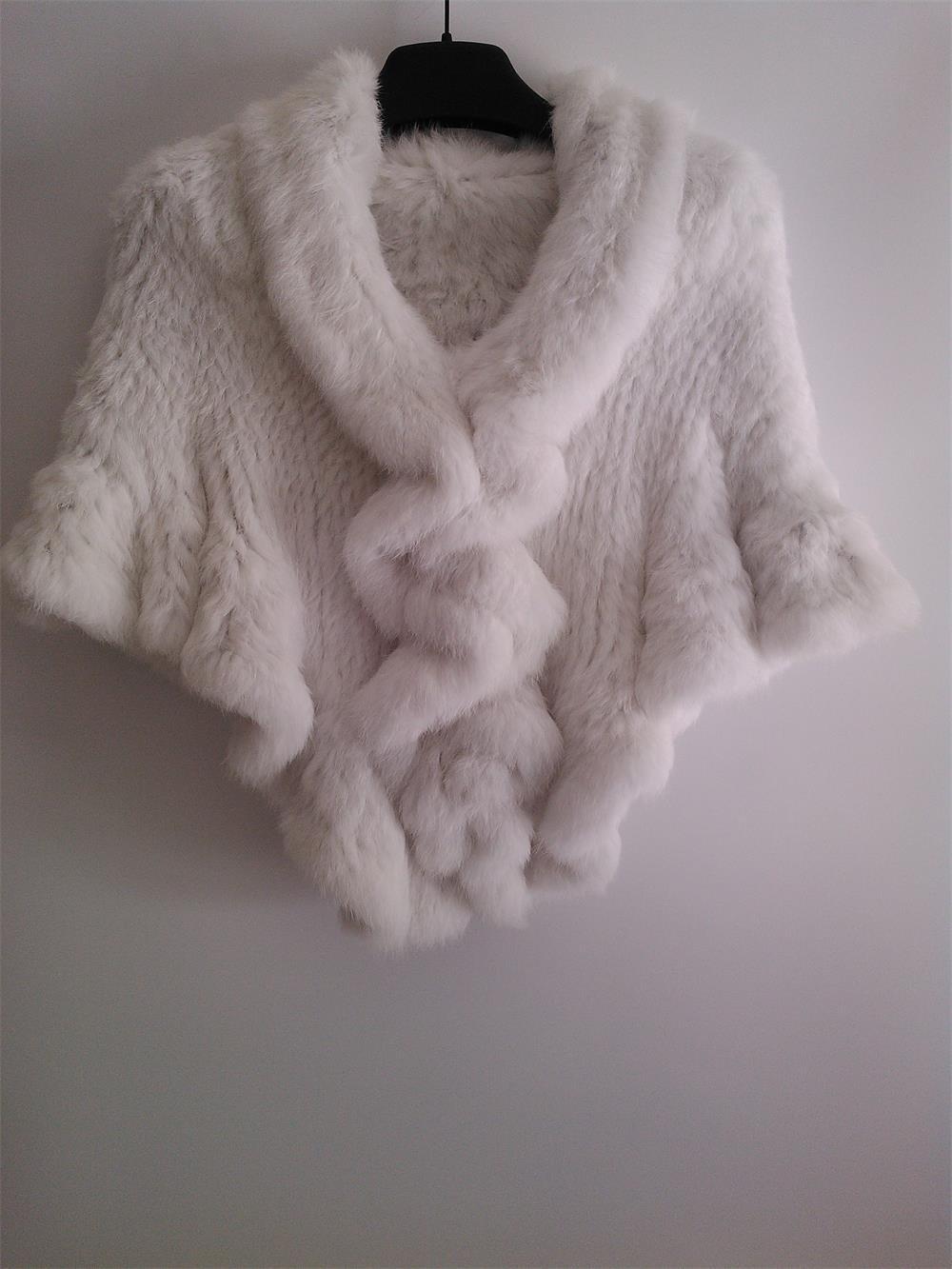 Pure White rabbit fur shawl Wedding cape