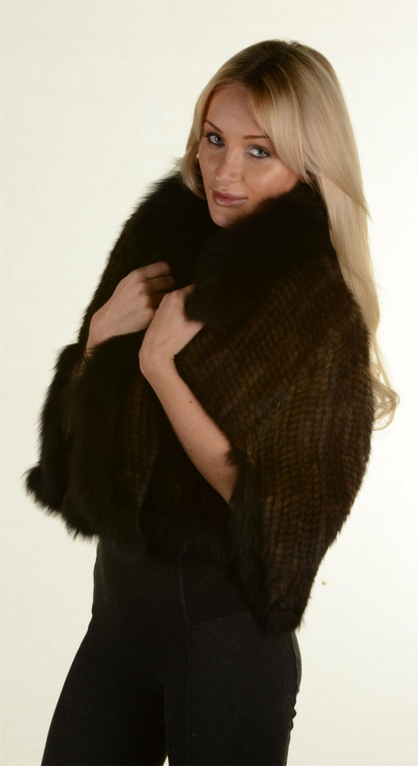 Brown knitted mink shawl fox fur collar