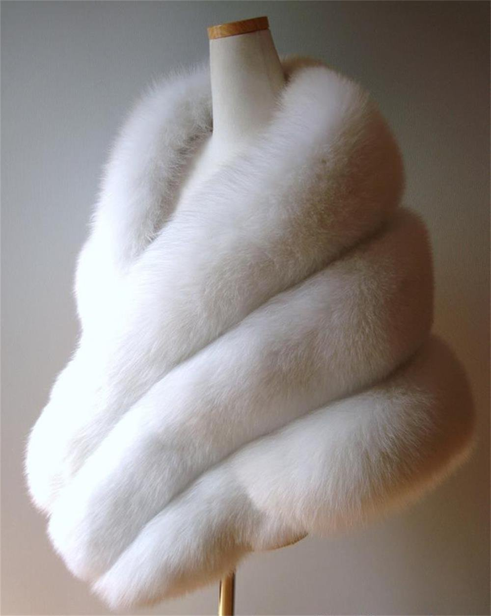 Pure White white fox fur shawl Wedding cape