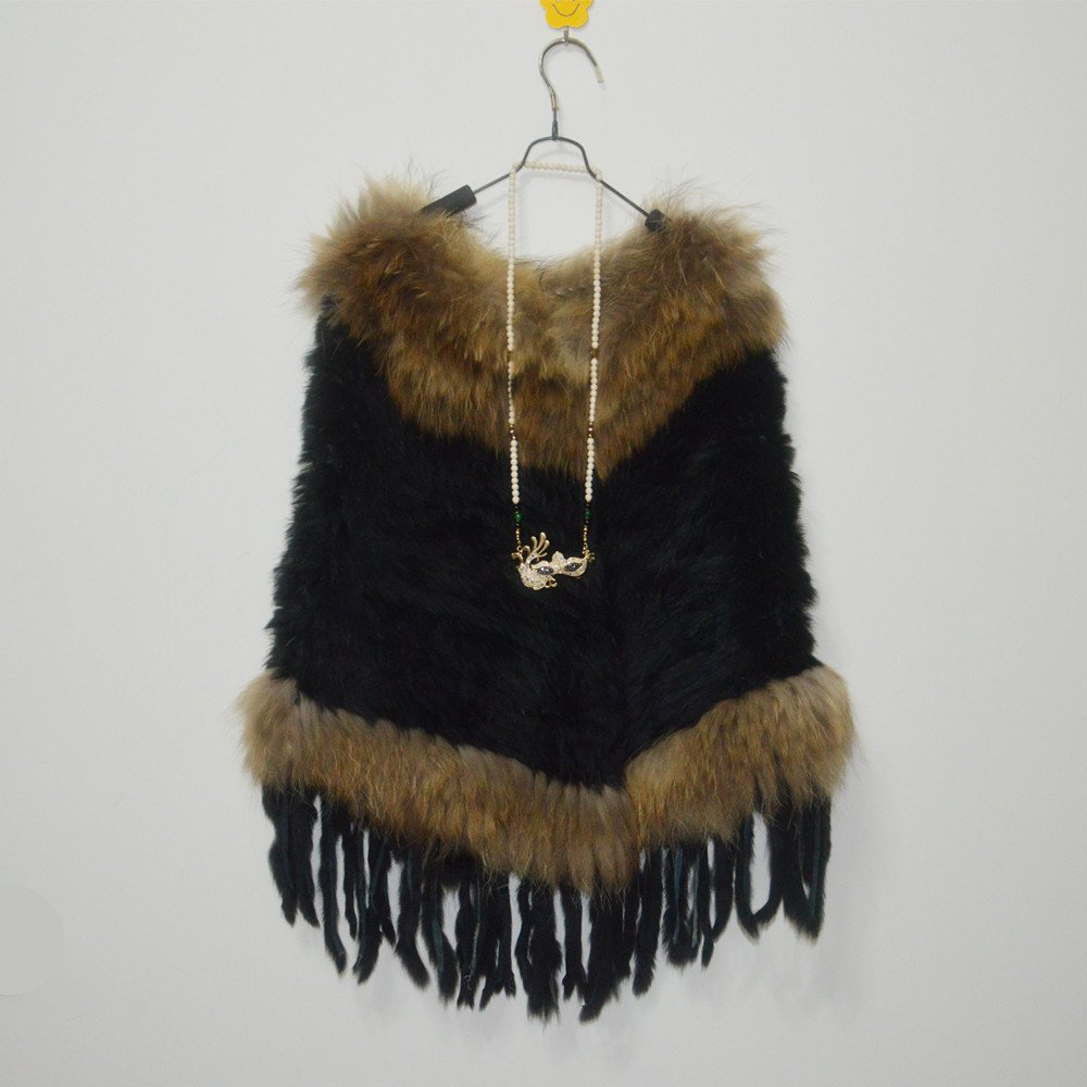 Black crochet rabbit fur cape with raccoon fur
