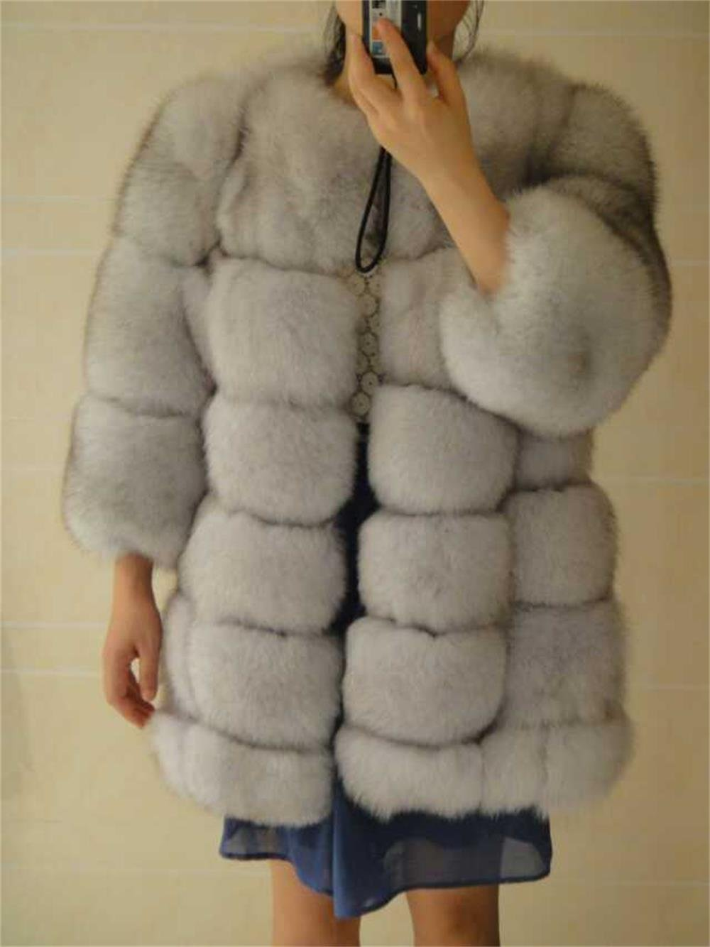 Luxury Nature white blue fox fur parka fur coat