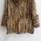 Knitted rabbit fur coat with hood raccoon fur trim